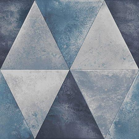 Caden Metallic Geometric Wallpaper Blue Muriva 152503