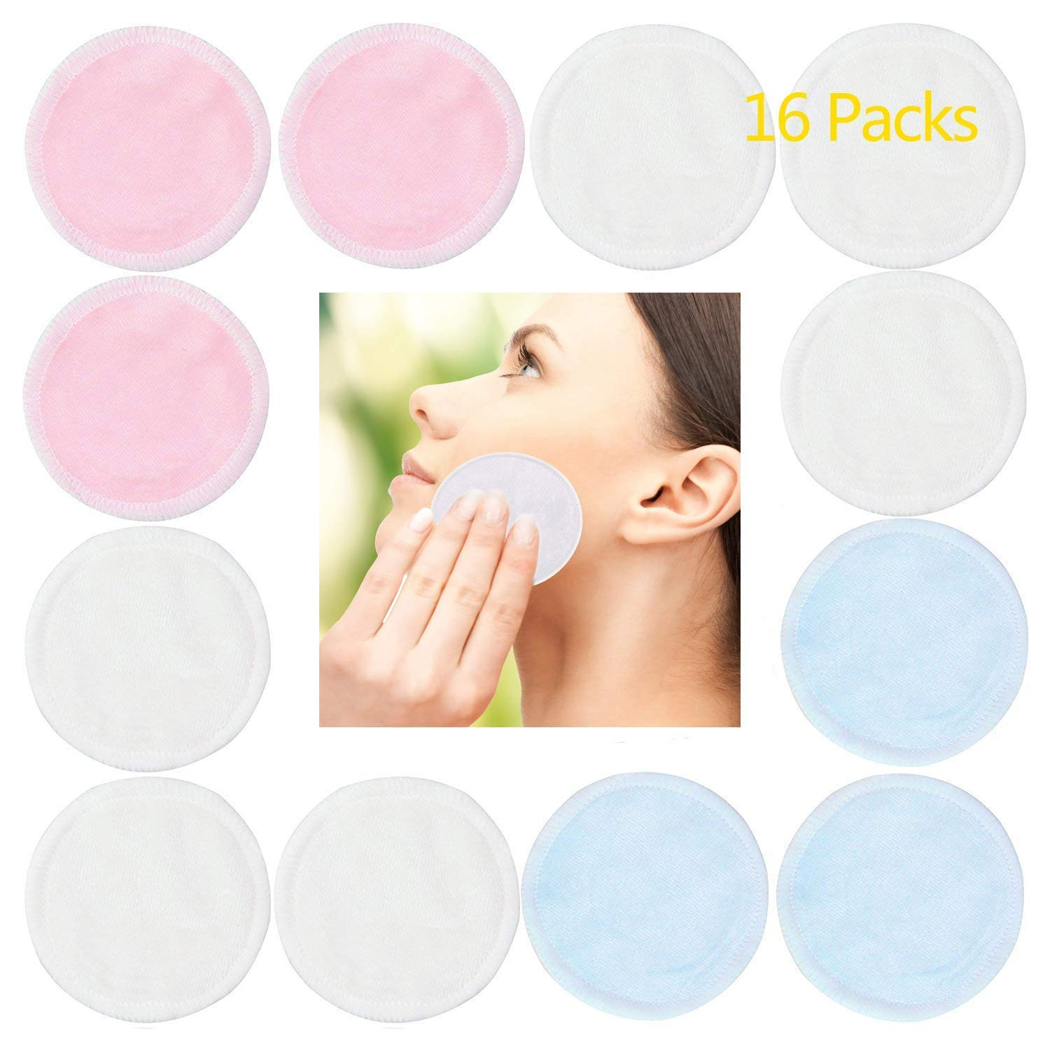 Bamboo Makeup Remover Pads with Laundry Bag - Chemical free Reusable Soft Facial Skin Care Wash Cloth Pads - Wipes Face Clean (Bamboo Velour) 3 Color 16 Packs Caspro