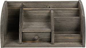 Natural Solid Wood Desktop Organizer Multiple Compartments Stepped Racks Drawer Shelf Tabletop Storage Cabinet Stationery Holder Office Supplies Organizer Home (Gray)