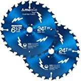 """Amoolo 6-1/2"""" 24T Circular Saw Blade for Cutting Wood, Plastic and Wood Composite with 5/8"""" Arbor (6.5""""-2pcs)"""