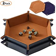 Highway 2 Pcs Portable Folding Dice Rolling Tray Set for RPG DND Table Games - PU Leather and Velvet Holder Storage Box - Bl