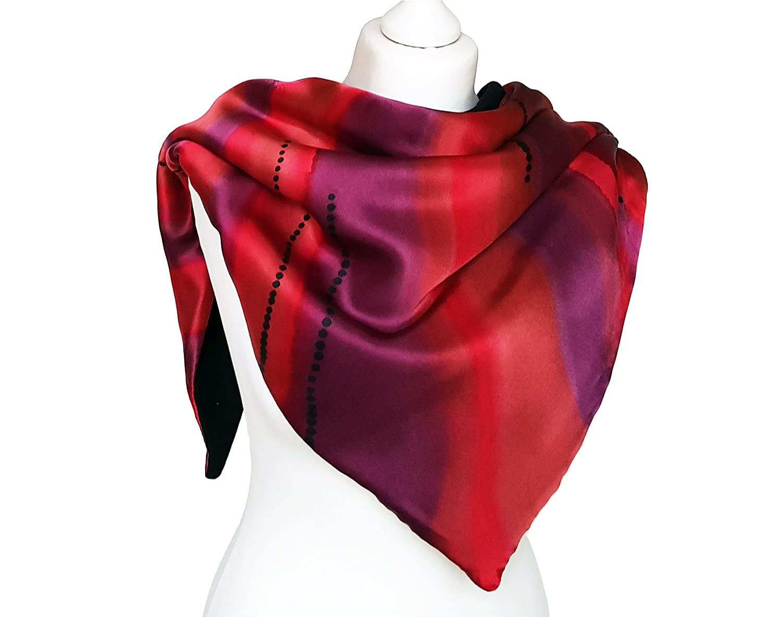 97b6a53d8 Amazon.com: Winter Scarf - Women Silk Scarf - Winter Scarf Red - Chunky  Scarf - Collar Scarf - Red Gift Scarf - Silk Scarves For Her - Wife Scarf:  Handmade