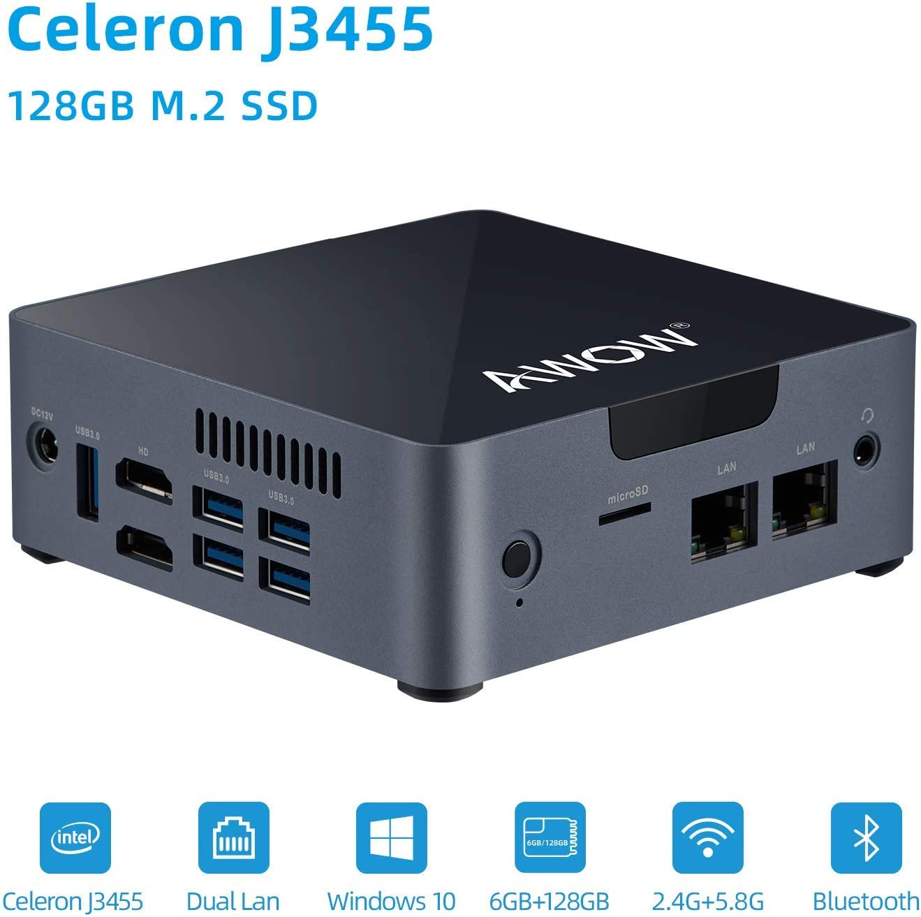 Mini PC Intel Celeron J3455 6GB DDR4, 128 GB SATA SSD, Mini Desktop Computer, AWOW AK34 Micro PC, Windows 10, Quad Core, Dual Gigabit Ethernet NIC, Dual HDMI, 5X USB3.0, 4K UHD, Bluetooth