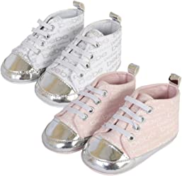 bebe Baby Girls Lace-up Crib Shoe Sneakers with Metallic Print (2 Pack)