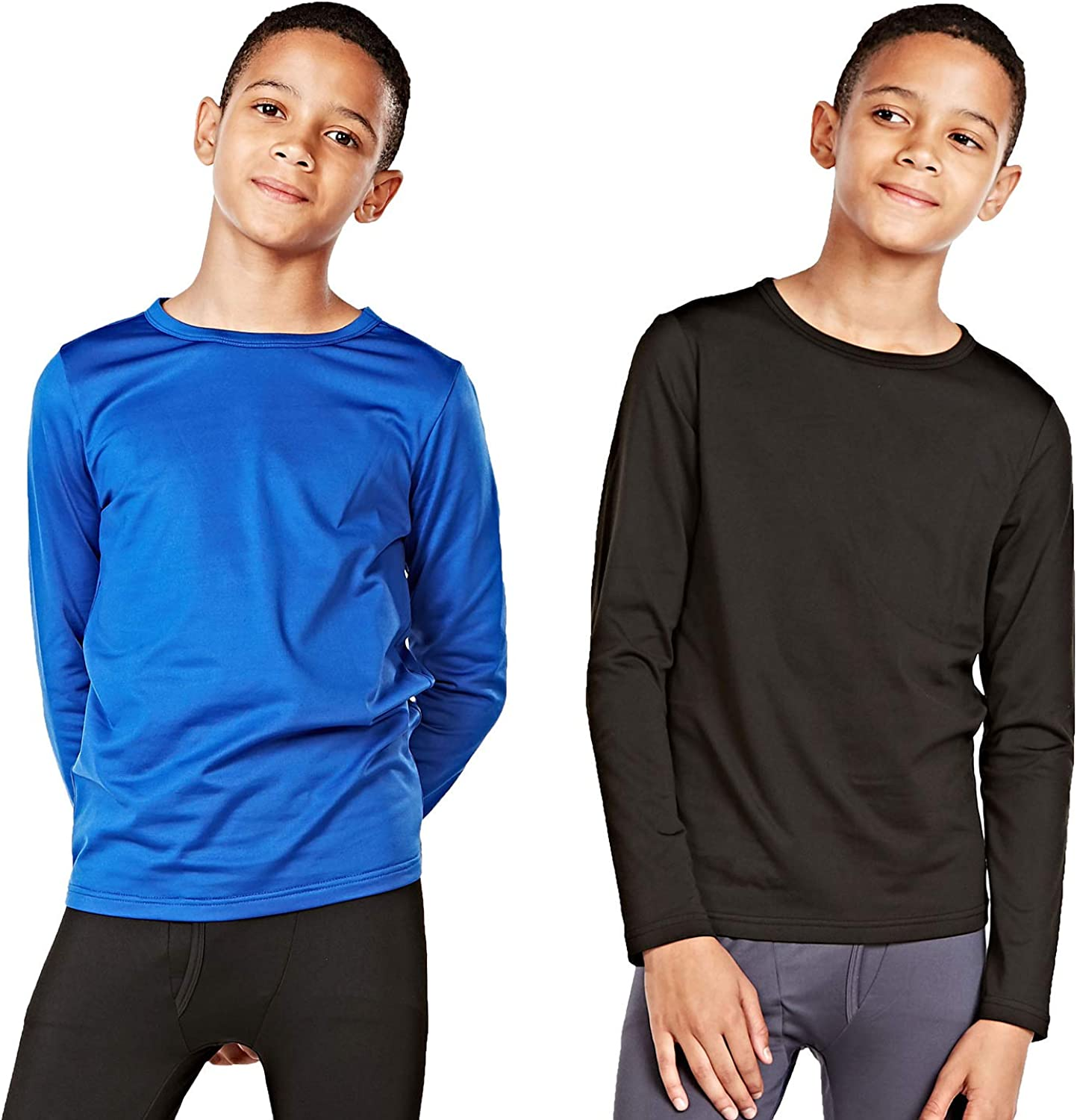 DEVOPS Boys 2-Pack Thermal Shirts Compression Long Sleeve Tops with Fleece Lined