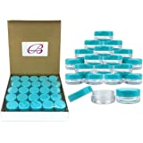 (Quantity: 50 Pieces) Beauticom 3G/3ML Round Clear Jars with TEAL Sky Blue Lids for Scrubs, Oils, Toner, Salves, Creams, Lotions, Makeup Samples, Lip Balms - BPA Free