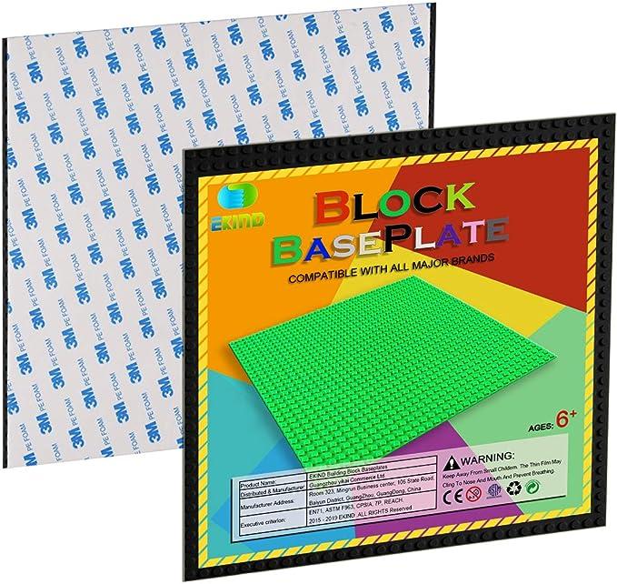 EKIND 6 PCS Self Adhesive Classic Building Brick Plate 10 x 10 Compatible for Building Brickyard Blocks All Major Brands Blue