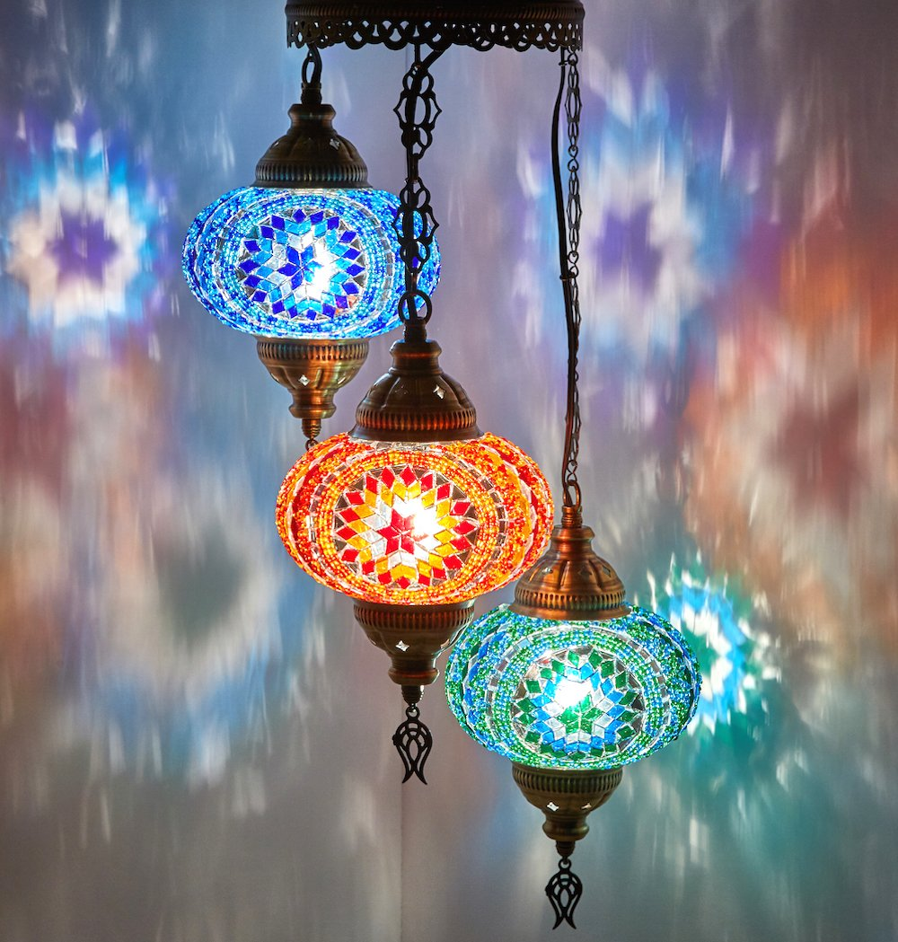 """DEMMEX Turkish Moroccan Mosaic Hardwired OR Swag Plug In Chandelier Light Ceiling Hanging Lamp Pendant Fixture, 3 Big Globes (3 X 7"""" Globes Swag)"""