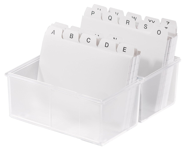 Han 976-63 - Fichero (para 400 tarjetas, DIN A6, poliestireno, 165 x 128 x 96 mm), transparente: Amazon.es: Oficina y papelería