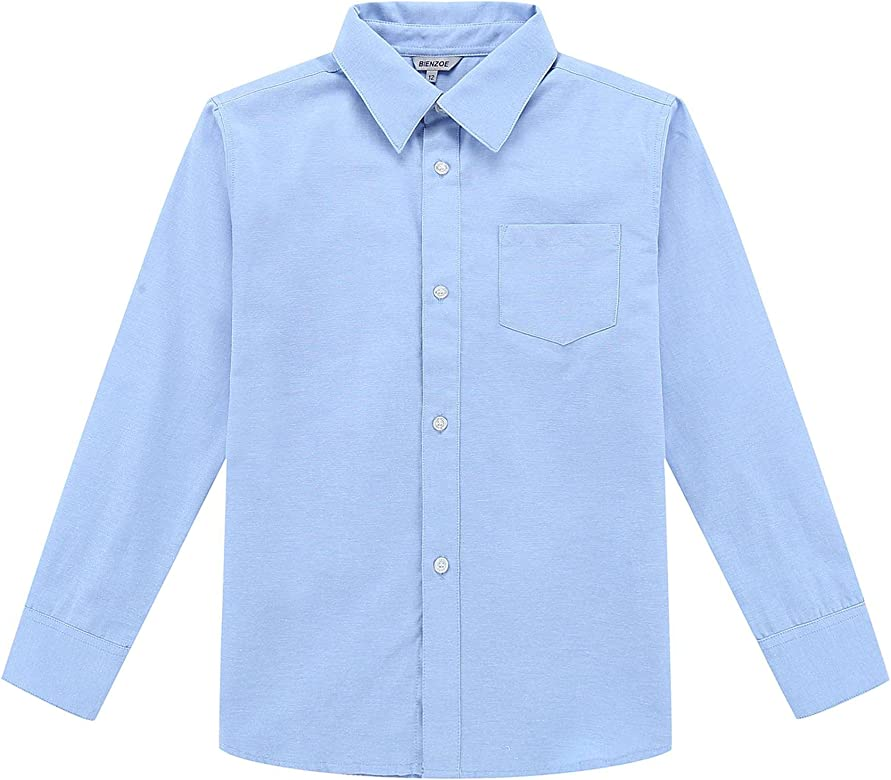 Onlyglobal Boys School Shirt Uniform Long Sleeve White Sky Blue Age 2-18 Years UK