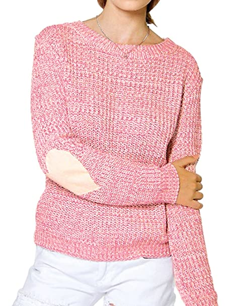 93d2eab66 Summer Mae Women s Heart Pattern Patchwork Knitted Sweater Round Neck Loose  Pullover at Amazon Women s Clothing store
