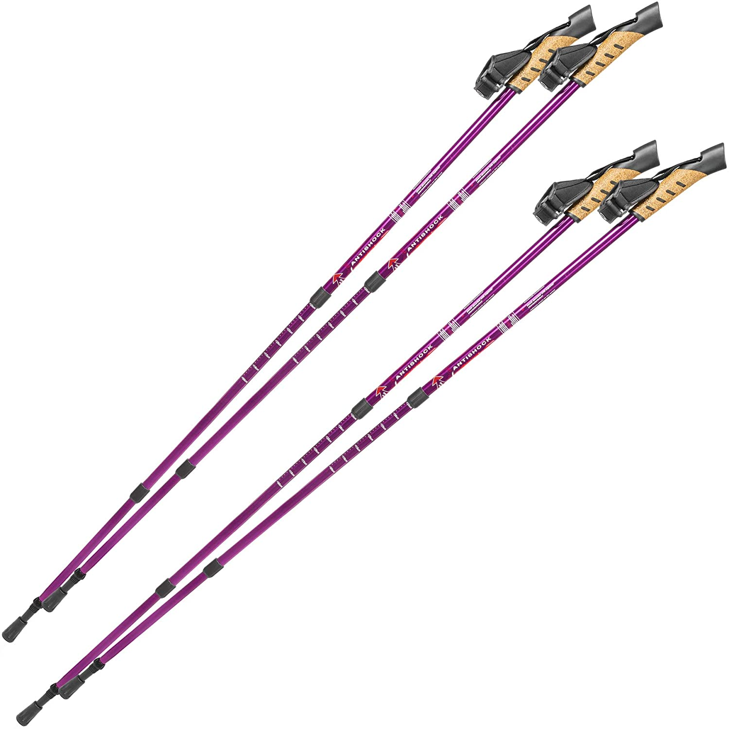 TecTake Pair Nordic Walking sticks with anti-shock telescopic poles trekking different colours and different quantities