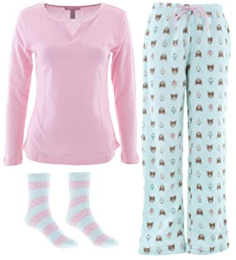 Pillow Talk Womens Pink Mint Bear 3-Piece Pajamas M