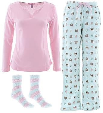 ff4211d84c Pillow Talk Women s Pink Mint Bear 3-Piece Pajamas L at Amazon ...