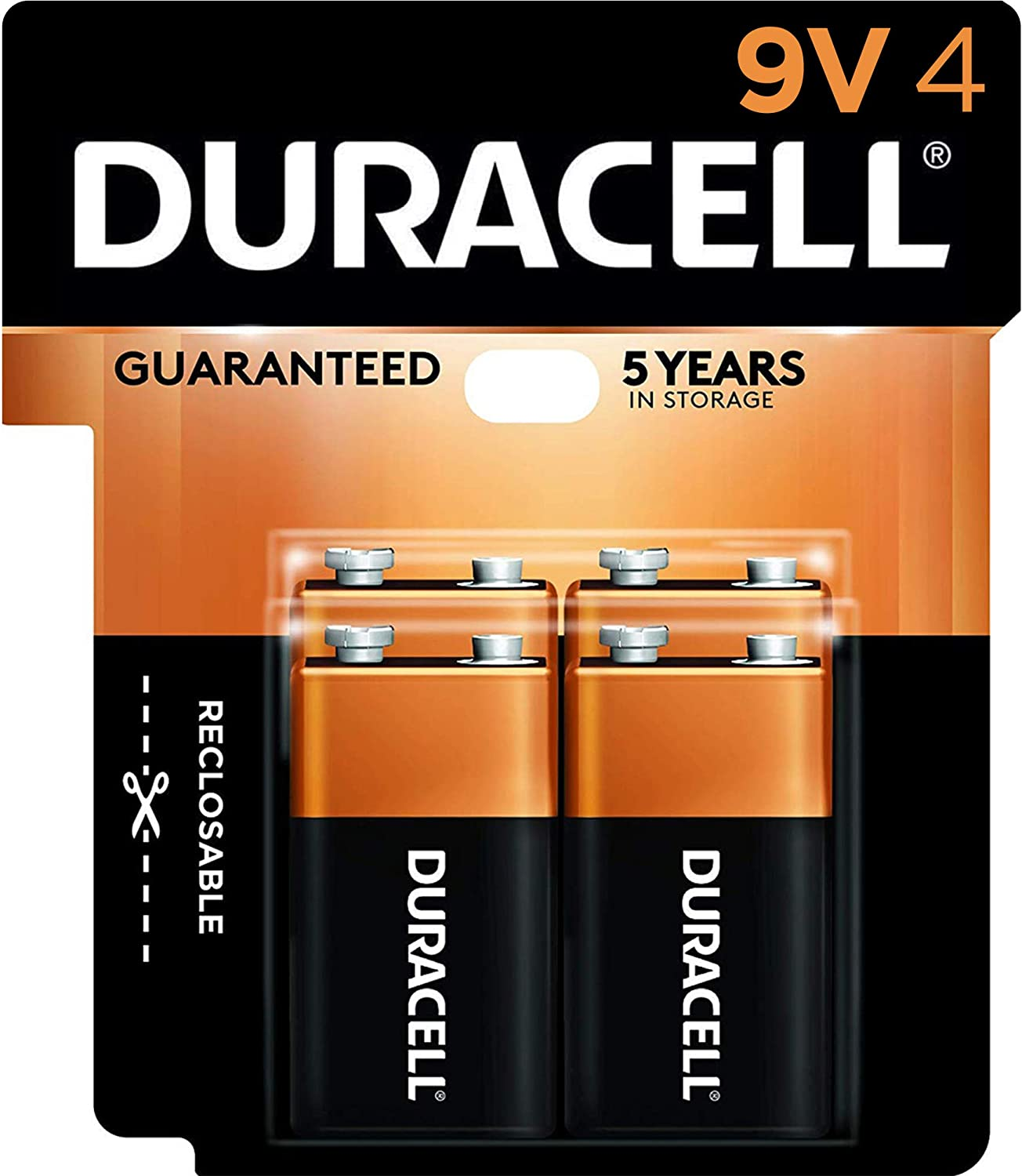Duracell - CopperTop 9V Alkaline Batteries - long lasting, all-purpose 9 Volt battery for household and business - 4 count: Health & Personal Care