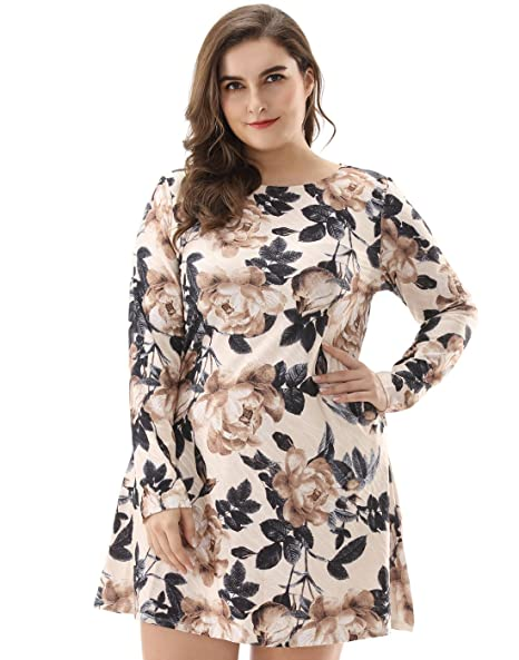 OEUVRE Women s Pocket Floral Loose Knee Length Long Sleeve Tunic Dress 2c6703c6e