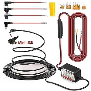 15ft Mini USB Dash Cam Hardwire Kit w. Mini(ACS)/LP Mini(ACN)/ATO(ATC or ACU)/Micro2(ACZ) Fuses, 5V/2A Output & Battery Drain Protection System