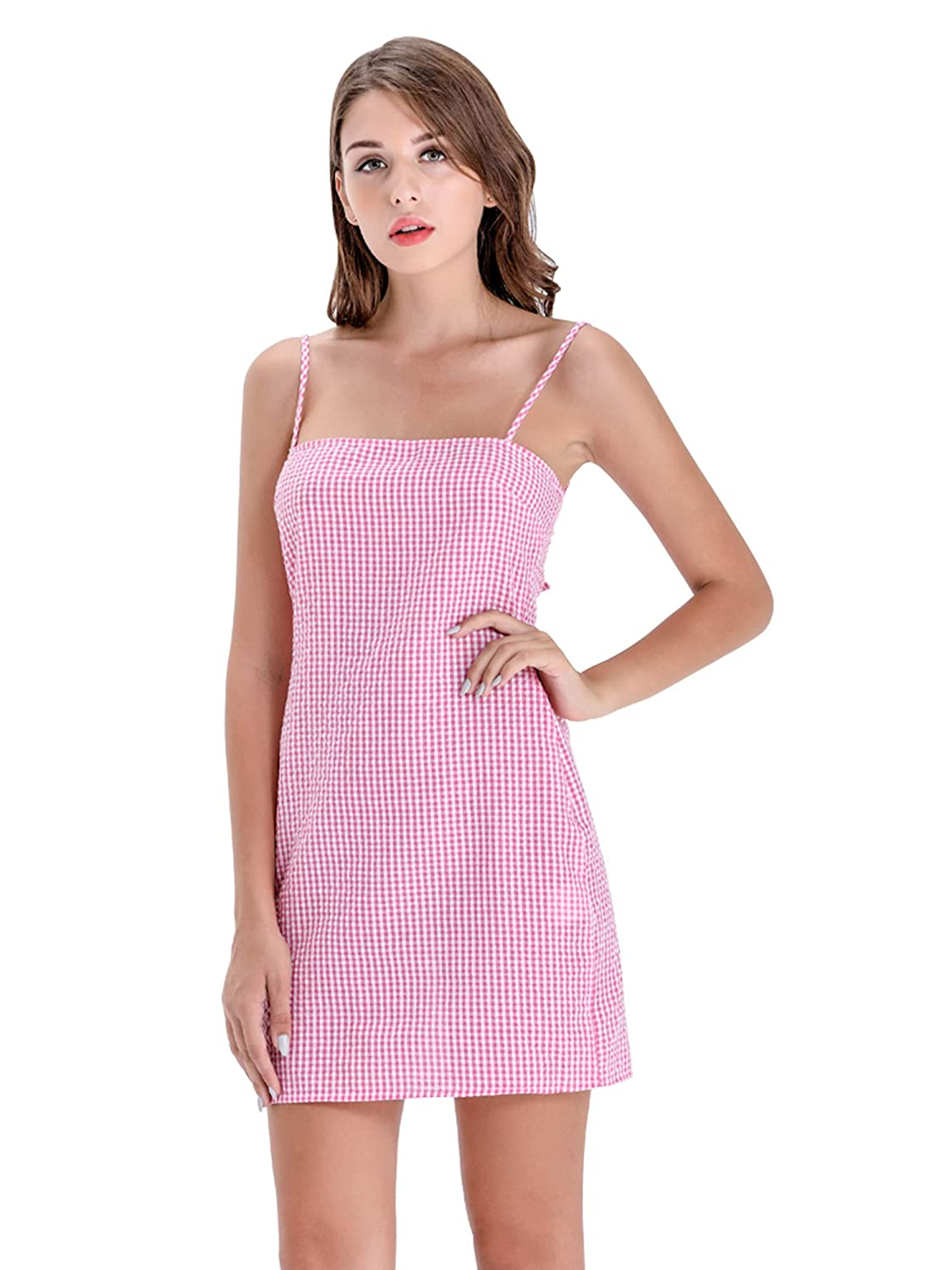 9d6d2d8679f4 BARGOOS Women's Sexy Sleeveless Spaghetti Strap Halter Plaid A-Line Short  Mini Dress Knee Length Lace Up Cami Skirt Pink: Amazon.co.uk: Clothing