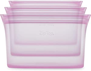 Zip Top Reusable 100% Silicone Food Storage Bags and Containers, Made in the USA - 3 Dish Set - Lavender
