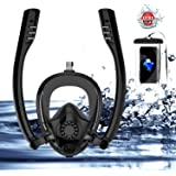 SOURCER K2 Double Snorkel Mask, Full Face Snorkeling Mask with Free Breathing System, 180