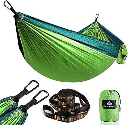 NatureFun Hamaca Ultra Ligera para Viaje y Camping | 300kg de Capacidad de Carga,Transpirable, Nylon de Paracaídas de Secado Rápido | 2 x Mosquetones ...