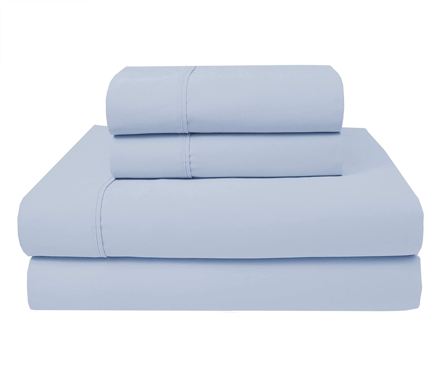 """Purity Home 300 Thread Count 100% Combed Cotton Sheet Set,4 Piece Set, Bestselling Full Sheets Percale Weave, Classic Z Hem, Cool & Breathable, Patented Fitted Sheet Fits Up to 18"""" Deep Pocket, Aqua"""