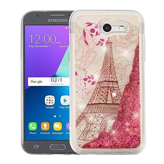 official photos 0a2db aa8aa Amazon.com: Samsung Galaxy J3 Eclipse Case - Liquid Glitter Hybrid ...