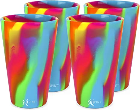 Patented Shatter-proof Silipint Silicone Pint Glass Set 4-Pack, Hippie-Hop Unbreakable Silicone Cup Drinkware