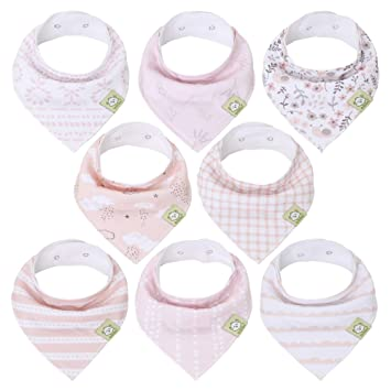 Organic Cotton Absorbent Baby Bandana Drool Bibs Set Of 4 for Girls /&  Boys