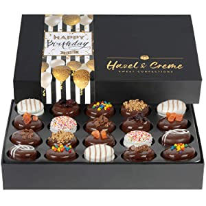 Hazel & Creme Birthday Food Gift Baskets - Happy Birthday Cookies - Chocolate Covered Cookies - Gourmet Food Gifts (Extra Large Gift Box)