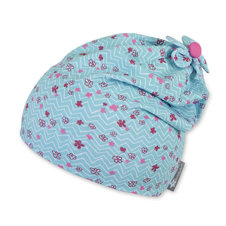 Babymütze mit kleinem angenähten Schal hellblau versch Größen Jungen Mädchen