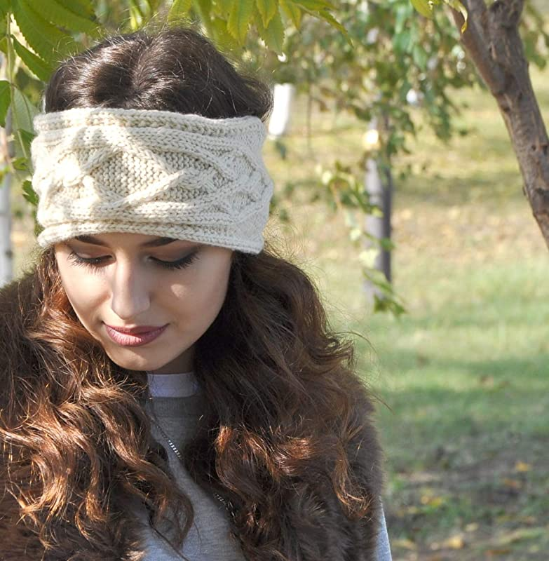 The White Elephant Headband Stretchy Soft Warm Crocheted Ear Warmer in White Nylon Blend Yarn Women AdultTeen Size