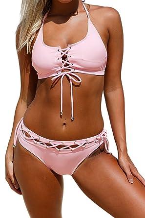 f860a7fc17 Aleumdr Womens Crop Tops Lace Up Halter Bralette Bikini Set Swimsuit With Swim  Briefs S-XXL