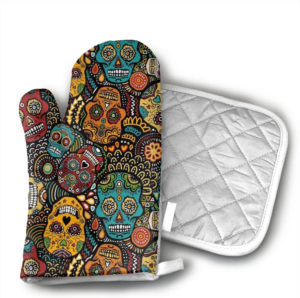 Mexican Sugar Skulls Non-Slip Silicone Oven Mitts and Potholder Set, Extra Long Kitchen Mitts, Heat Resistant to 526 Fahrenheit Degrees Kitchen Oven Gloves
