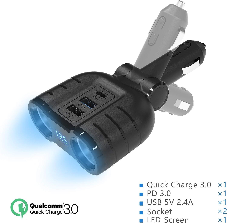 Car Charger 48W USB Car Charger USB C Quick Charge 3.0 Splitter Adapter,120W 12V/24V DC Outlet Multi Socket Car Cigarette Lighter Splitter with QC3.0& PD Prot&Smart Port with Voltage LED Display