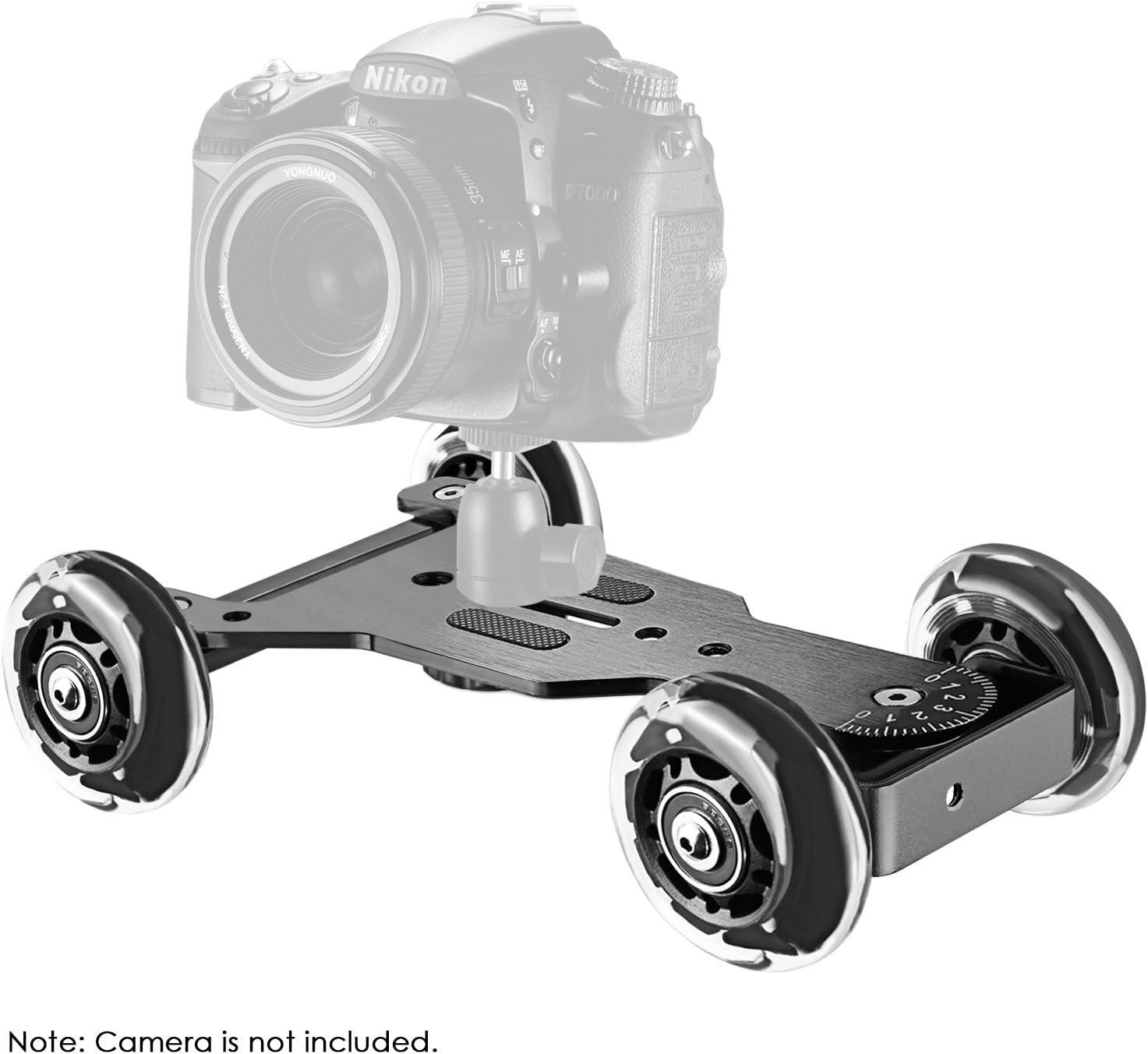 Zeadio/® Tavolo Portatile Dolly Mini Slider Skater Wheel Track Stabilizzatore per fotocamera DSLR Video DC Nero