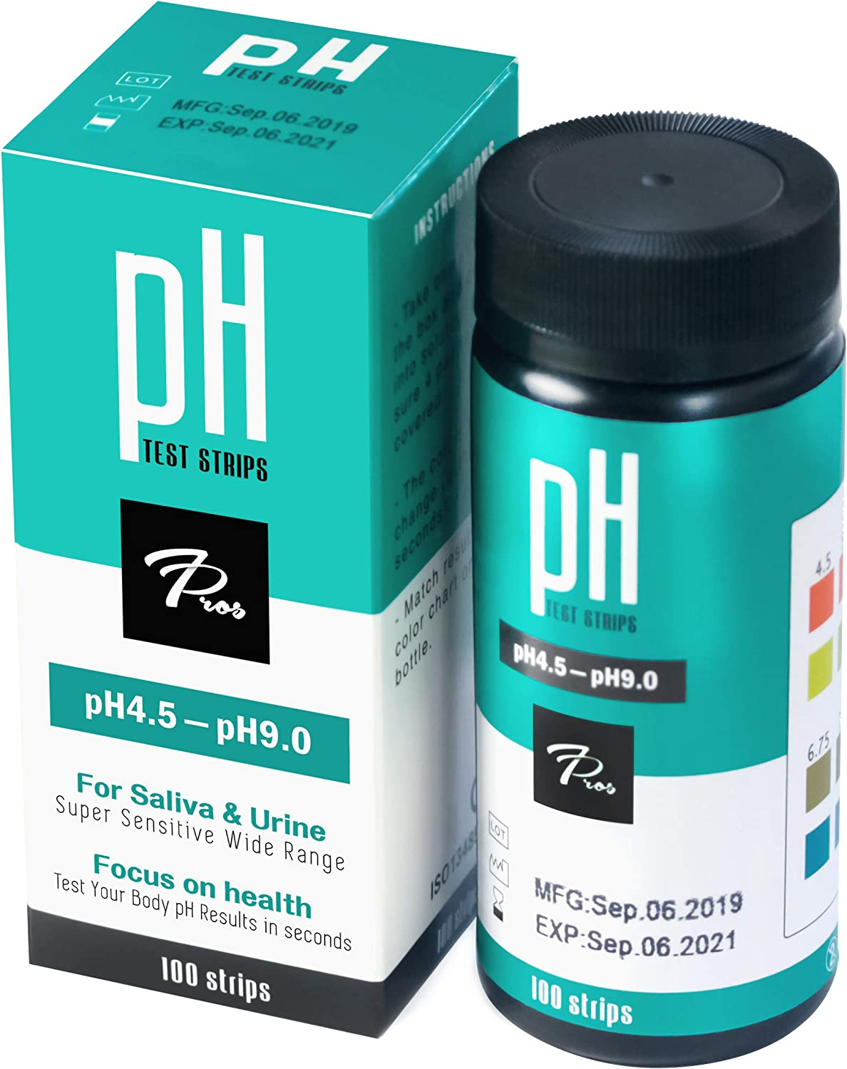 pH Test Strips for Urine & Saliva, 7Pros Accurate Urinalysis Reagent Test Strips for Body pH Testing. Food and Diet pH Monitoring; Know Your Body Acidity and Alkalinity