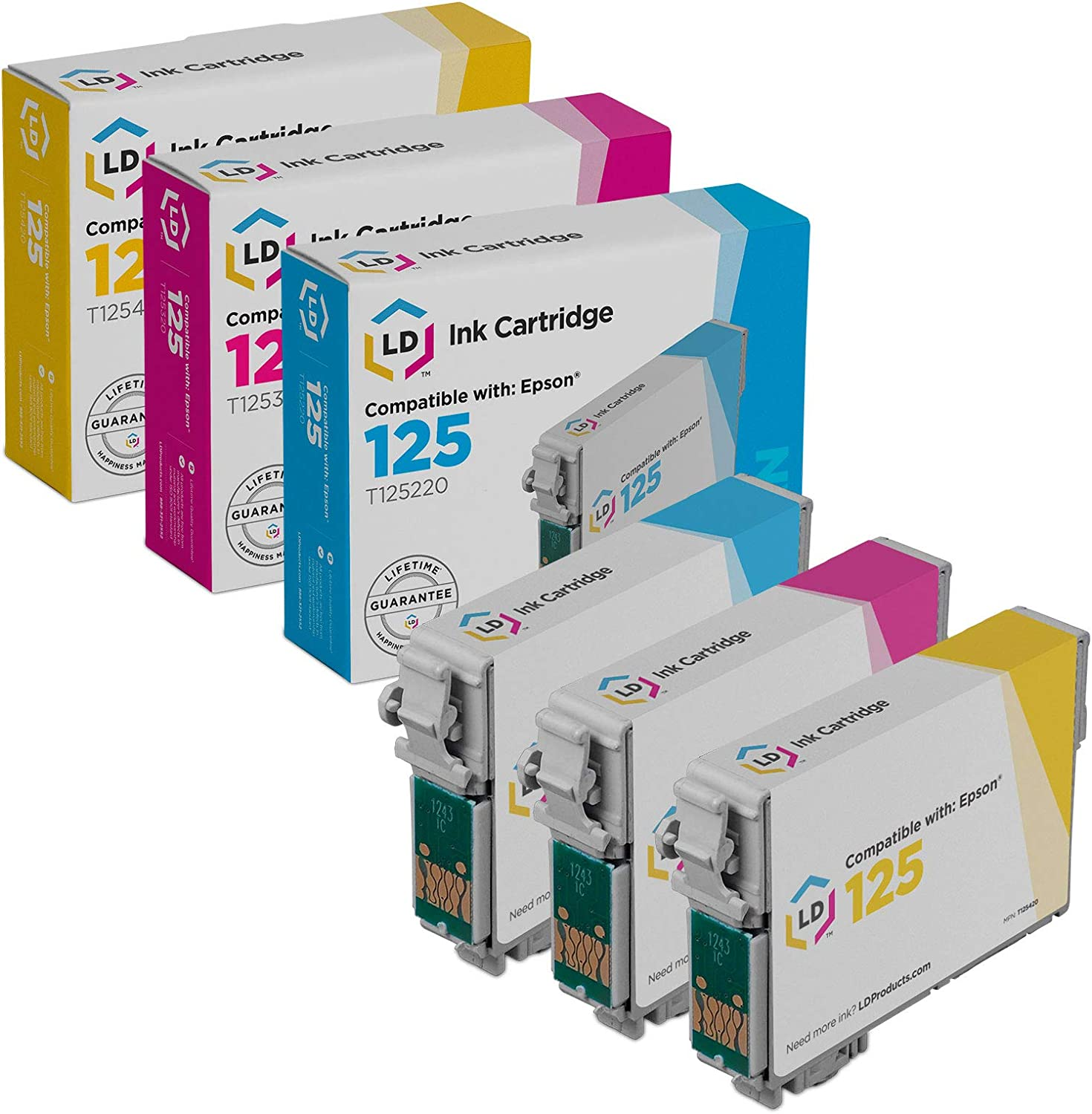 LD Remanufactured Ink Cartridge Replacement for Epson 125 (Cyan, Magenta, Yellow 3-Pack)