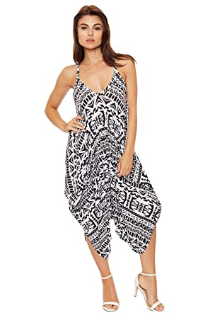 46cbecd4e0e WEARALL Women s Lagenlook Jumpsuit Baggy Harem Aztec Tribal Print Strappy  Dress at Amazon Women s Clothing store