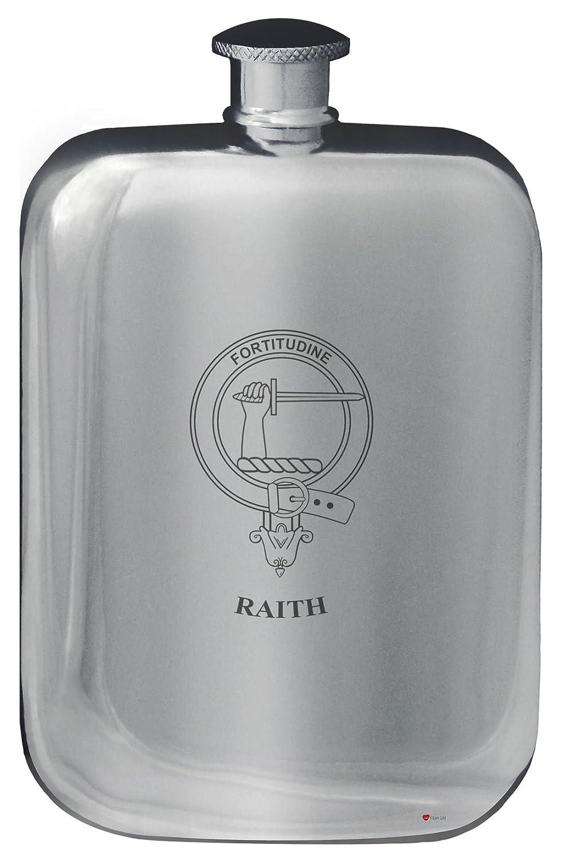 Raith Crête de famille de conception de poche Flasque en étain poli 6 oz Arrondi I Luv Ltd