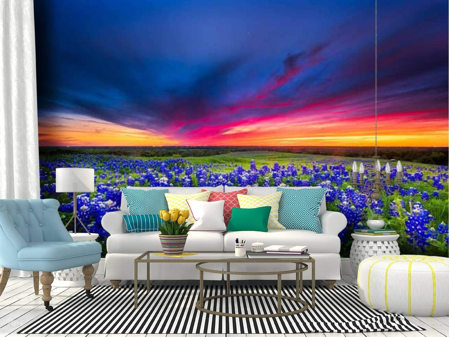 Self Adhesive Wallpaper Roll Paper field of blue flowers on sugar ridge road, ennis, texas spring Removable Peel and Stick Wallpaper Decorative Wall Mural Posters Home Covering Interior Film