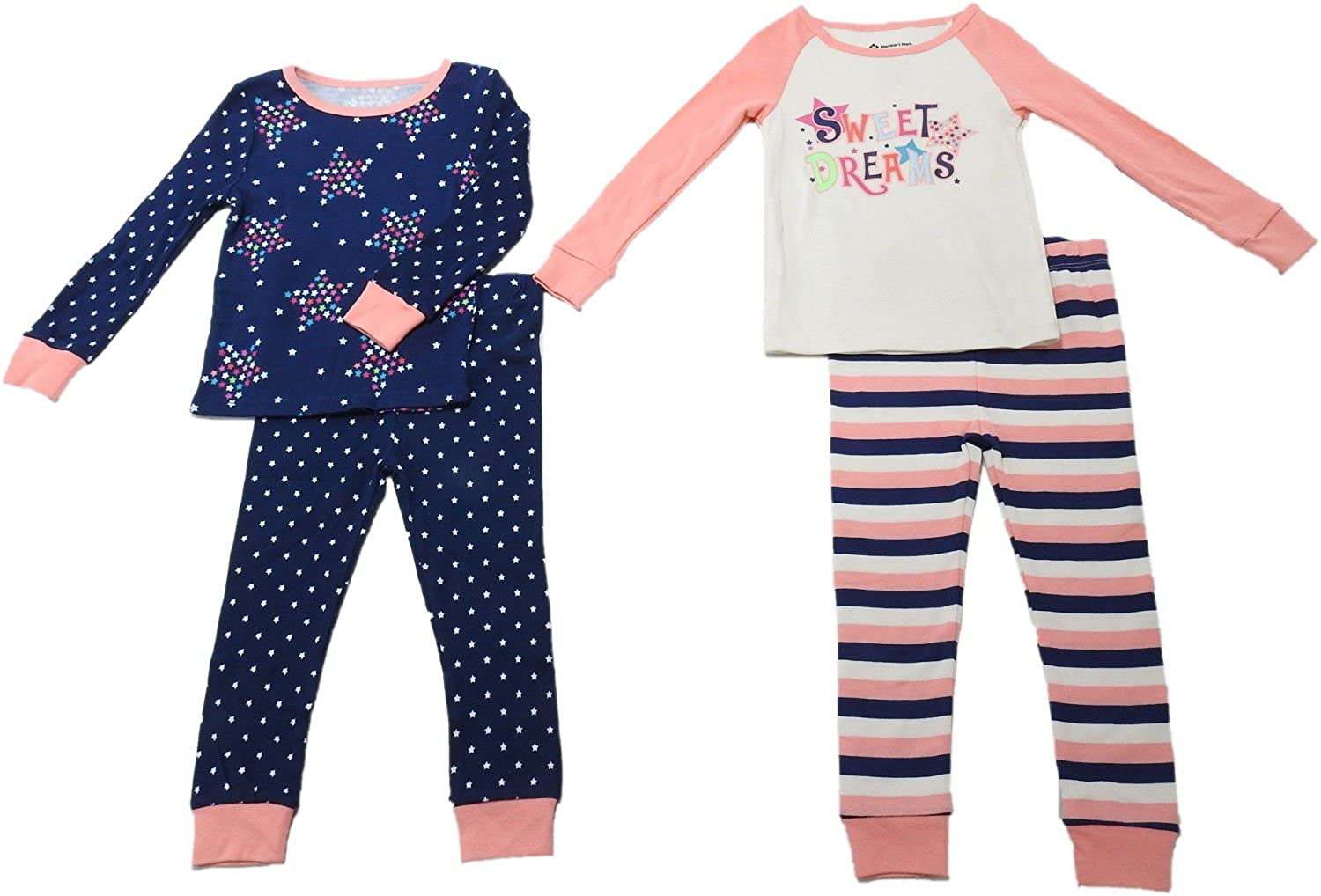 263f1ace47 Amazon.com  Member s Mark Baby Girls Snug Fit Sweet Dreams Cotton 2-Pack Pajama  Set