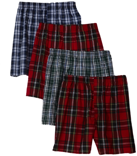 Hanes Ultimate Men's 4-Pack FreshIQ Plaid Boxer with ComfortFlex Waistband-Assorted Colors, Medium (Mens Boxer Plaid Classic)