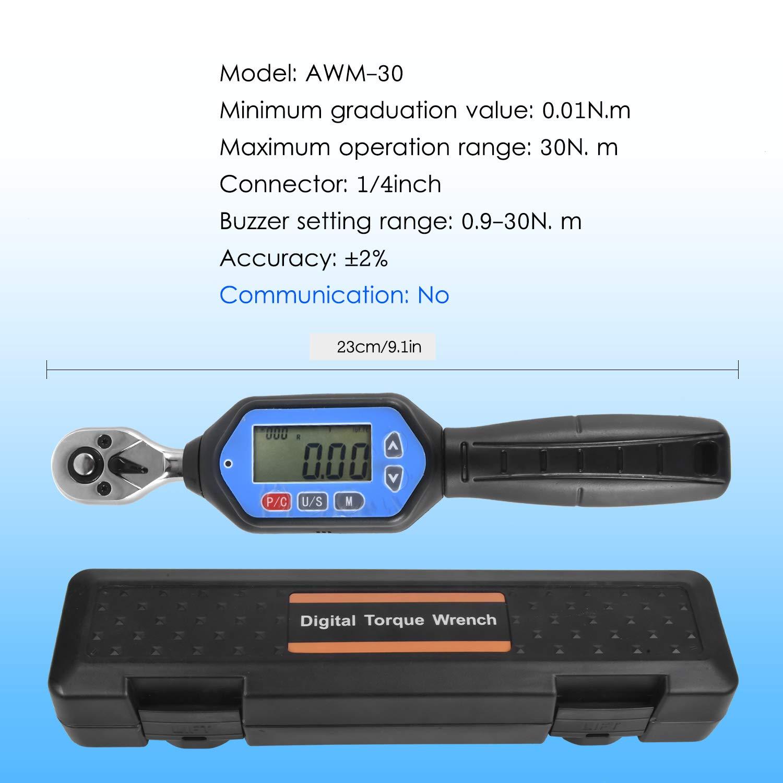 Rango de torque de 7.37 pies.lb Precisi/ón de /± 2/% con indicaci/ón LED de zumbador y seguimiento de seguimiento de pico Atlojoys Llave dinamom/étrica digital EWM-10 1//4 Square Drive Max