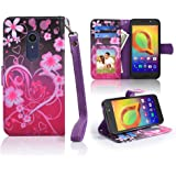 "For ALCATEL 1X (5059) 2018 Release 5.3"" PU Leather Credit Card Slot Holder Flip Folio Kickstand Wallet Case with Wrist Strap [Free Emoji Keychain!] (BIG PINK HEART)"