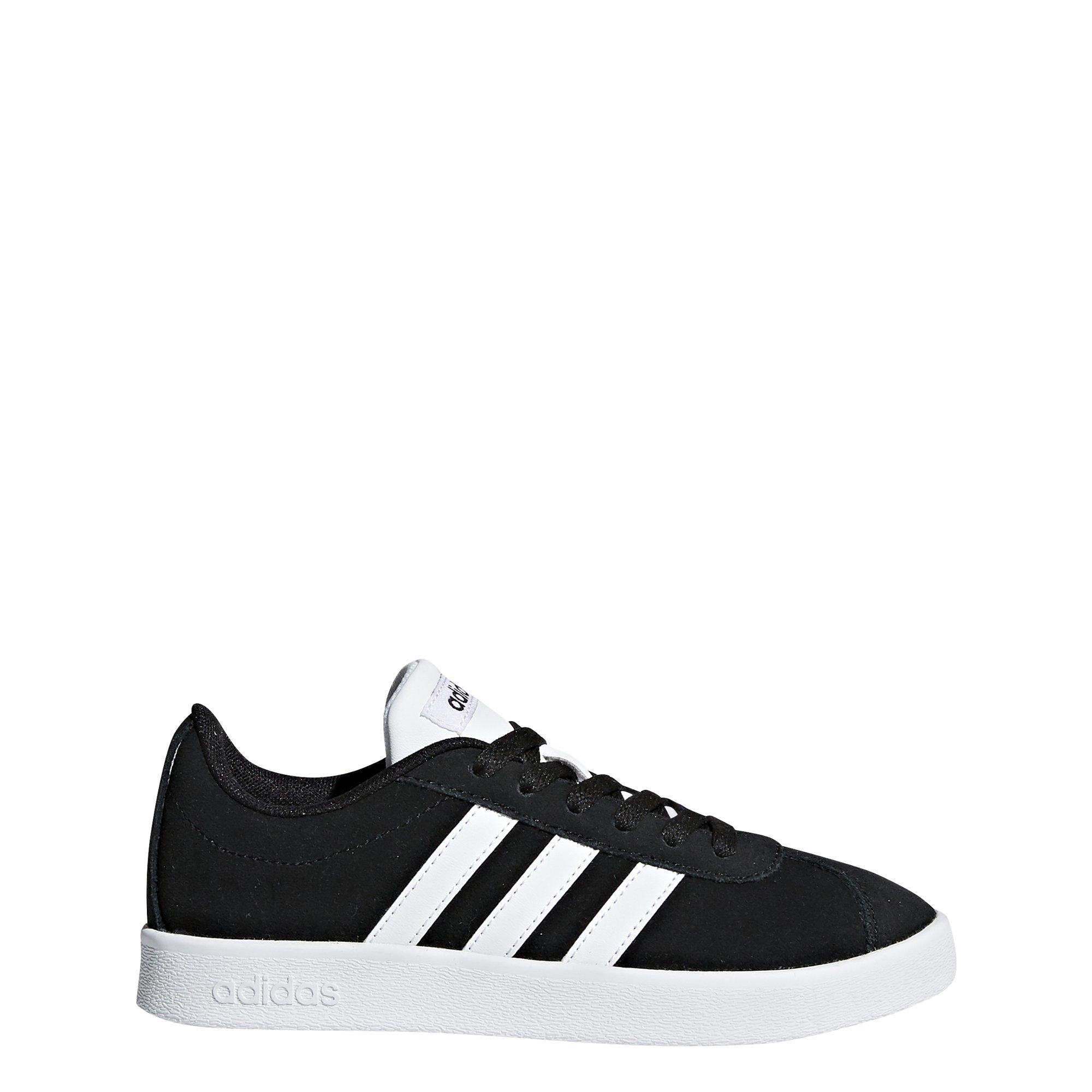 adidas Kids' VL Court 2.0, Core Black/White/Core Black, 1 M US Little Kid