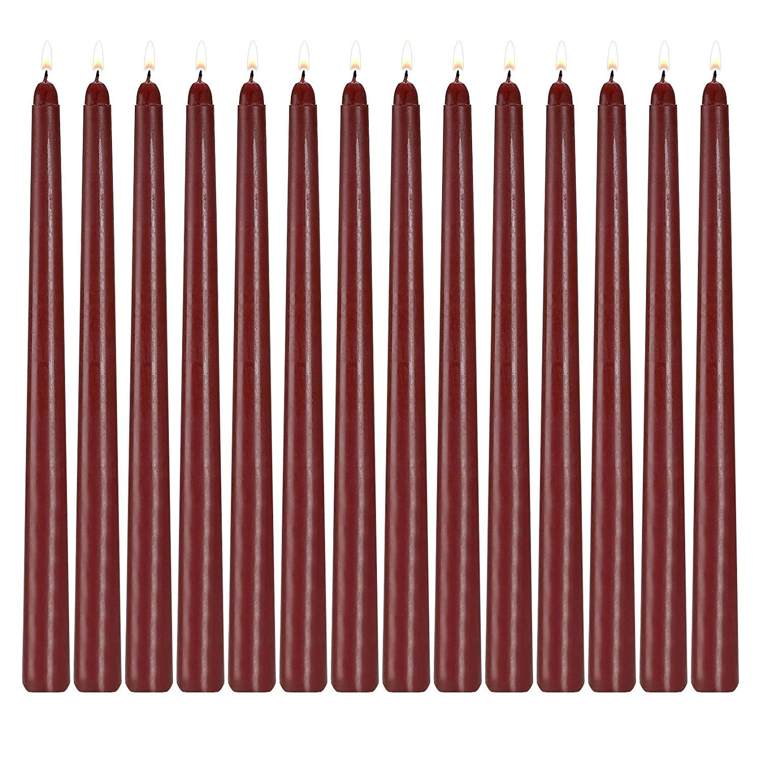 Howemon 14 Pack Dark Red Taper Candles 12 Inch Tall 3//4 Inch Thick Burn 10 Hours Burgundy