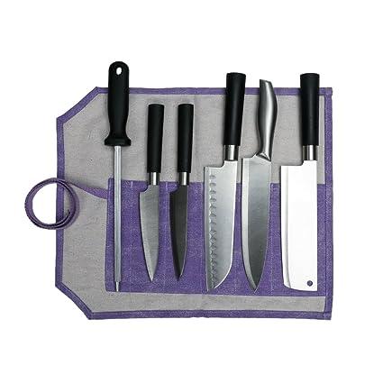 Amazon Com 6 Pockets Violet Chef S Knife Roll Bag Multi Function