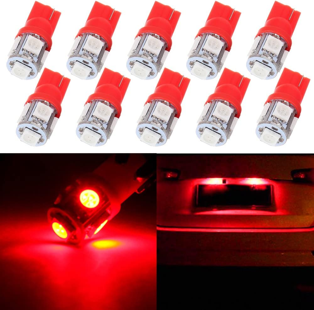 License Plate Lights,cciyu Red 5-5050-SMD T10 W5W Wedge 168 194 LED Bulb,10Pack