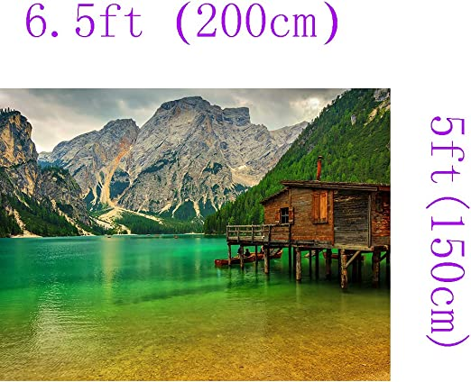 DZJYQ 6.5x5ft Gorgeous Cloud Mountain Green Forest Tree Clear Water Lake Wood House Beautiful Natural Scenery Holiday Tour Wedding Birthday Party Portrait Studio Backdrop Background 341 2x1.5m